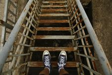 Free Top View Photo Of Rusty Steel Stairs Royalty Free Stock Photos - 128405648