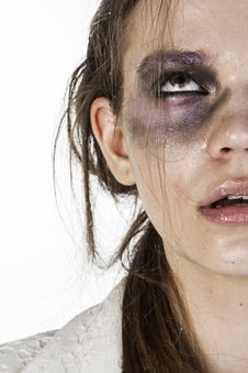 Free Close-Up Photo Of Woman With Black And Purple Eye Shadow Royalty Free Stock Image - 128558136