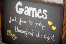 Free Games Feel Free To Play Throughout The Night Board Decor Royalty Free Stock Photography - 128687237