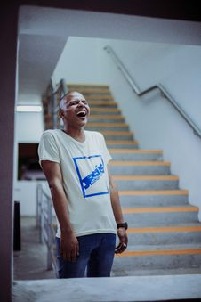 Free Photo Of Man Standing Near Stairs Laughing Stock Image - 128687321