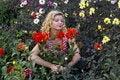 Free Cute Girl With Gorgeous Dahlia Flower Stock Photo - 1291340