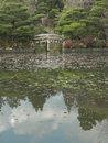 Free Reflections Of A Japanese Garden And A Stone Bridge Royalty Free Stock Images - 1295799
