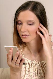 Woman With Pocket Glass Stock Photography