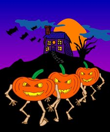 Free Night Of The Living Pumpkins Royalty Free Stock Image - 1292146