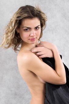 Frivolous Portarit With Black Fur Royalty Free Stock Images