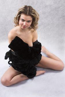 Frivolous Portarit With Black Fur Stock Photo