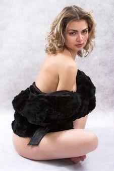 Frivolous Portarit With Black Fur Stock Image