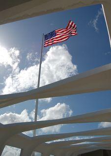 Free Flag At Pearl Harbor Memorial Royalty Free Stock Image - 1295126