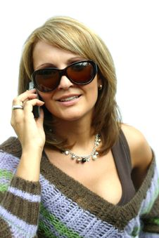 Free A Beautiful Woman With Phone Stock Photography - 1296442