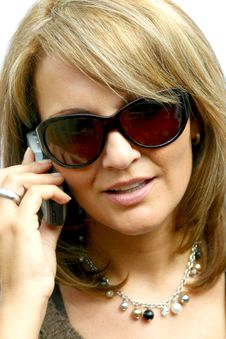 Free A Beautiful Woman With Phone Royalty Free Stock Photography - 1296467