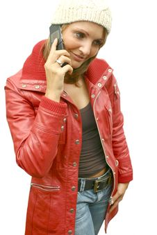 Free A Beautiful Woman With Phone Royalty Free Stock Photography - 1296527