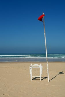 Red Flag In The Beach Royalty Free Stock Image