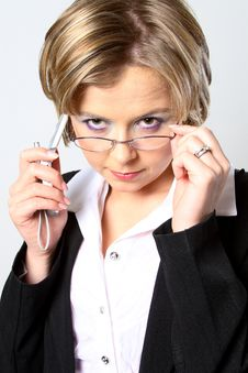 Free Blond Business Woman With Glasses Stock Image - 1297471