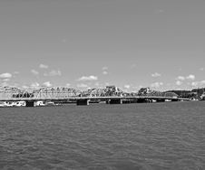 Free Old-Time Bridge In Black And White Stock Photography - 1298002