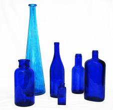 6 Blue Bottles Royalty Free Stock Photos