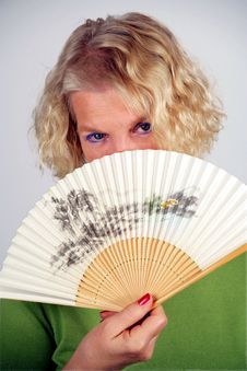 Woman With Folding Fan Stock Images