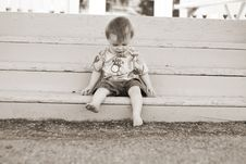 Infant Boy On Stairs Stock Photos