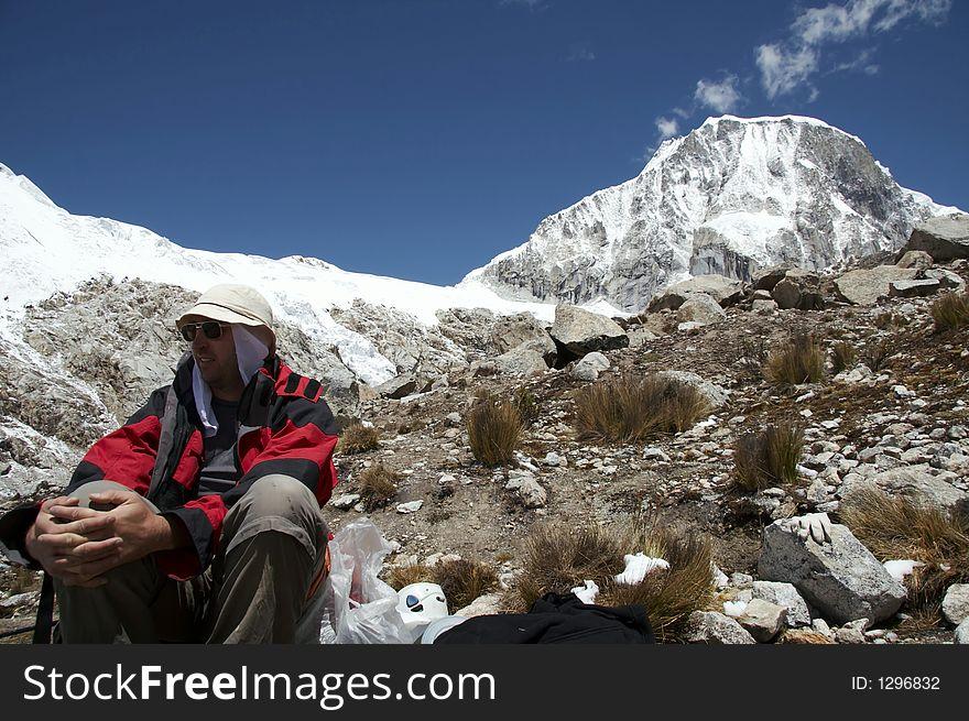 Climber in the Cordillera mountain