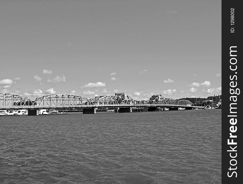 Old-Time Bridge in Black and White