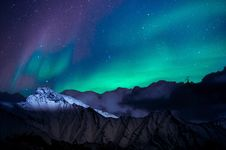 Free Landscape Photo Of Mountain With Polar Lights Stock Image - 129026471