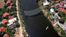 Free Bird S Eye View Photography Of River In Between Houses Royalty Free Stock Image - 129029606