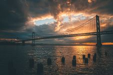 Free Silhouette Of Golden Gate Bridge During Golden Hour Royalty Free Stock Image - 129030486