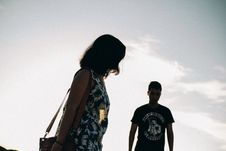 Free Silhouette Of Man And Woman Stock Photo - 129227650