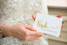 Free Person Holding To My Bride-printed Card Stock Image - 129251631