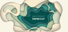 Free Vector Background With Beige And Green Colors Paper Cut Shapes. Stock Images - 129311594