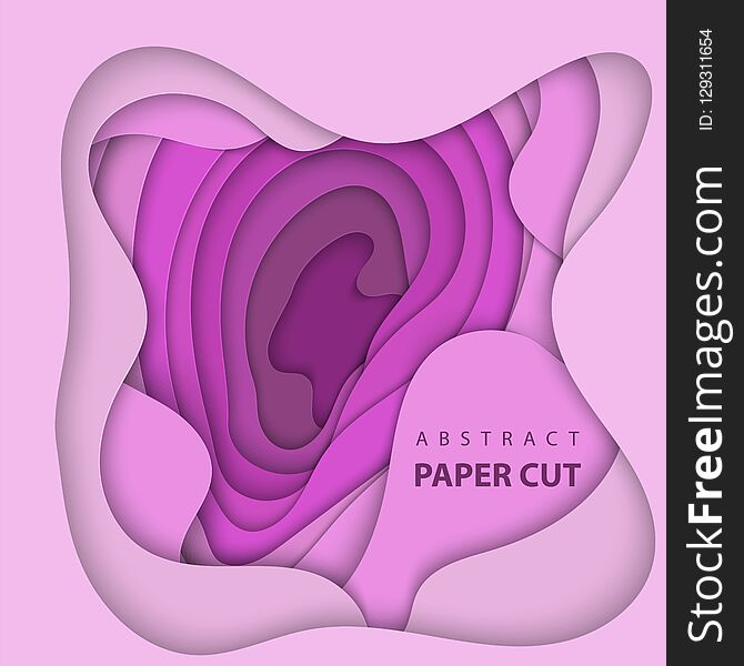 Vector background with lilac color paper cut shapes. 3D abstract