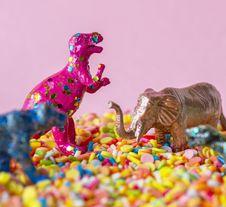 Free Close-Up Photo Of Dinosaur And Elephant Toys Royalty Free Stock Image - 129415376