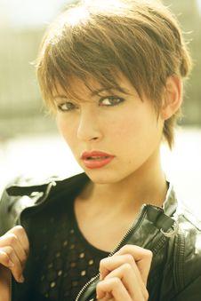 Free Woman Wearing Black Leather Jacket Looking Fierce Stock Photography - 129415482