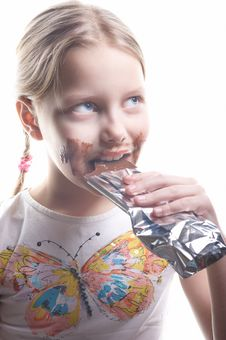 Free Little Girl With Chocolate Stock Images - 12959954
