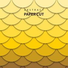 Free Vector Background With Yellow Gradient Color Paper Cut Shapes. Stock Images - 129936404