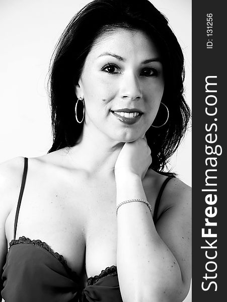 Portrait of Latina in black and white