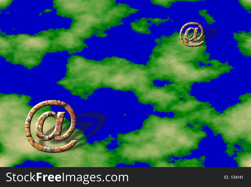 Email symbols over land background