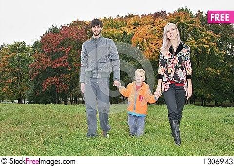 Autumn family walk Stock Photo