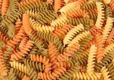 Free Dried Tri-colored Fusilli Pasta Stock Photos - 1302613