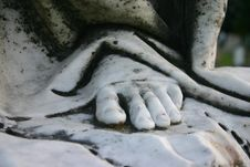 Stone Foot Of An Angel Sculpture Stock Image