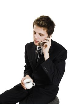 Free Business Man On Cell Phone Royalty Free Stock Photo - 1302625