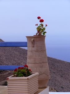 Free Pots Of Geranium, Greece Stock Images - 1303074