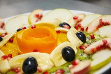 Free Fresh Juicy Fruit Salad On A Plate. Royalty Free Stock Photos - 1303158