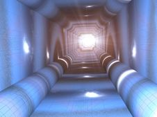Free Blue Tunnel Royalty Free Stock Photography - 1306007