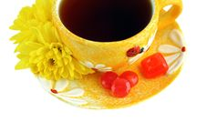 Yellow Cup, Over White Royalty Free Stock Photo
