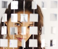Free Woman Behind Mirrored Beads Stock Photos - 1306683