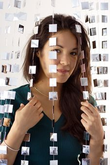 Woman Behind Mirrored Beads Royalty Free Stock Photos