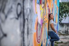 Free Woman Leaning On The Wall Stock Photos - 130178663
