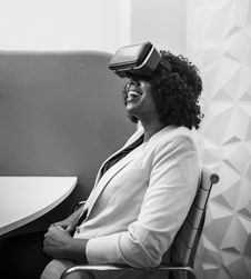 Free Grayscale Photography Of Woman Wearing Virtual Reality Headset Stock Photos - 130288573