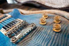 Free Close-up Photo View Of Blue Electric Guitar Royalty Free Stock Photography - 130492147