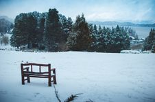 Free Wooden Bench On Snow Field Under Blue Sky Royalty Free Stock Photos - 130492228